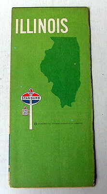 1969 Amoco Standard Oil &  Gas Company Highway Travel Road Map Of Illinois
