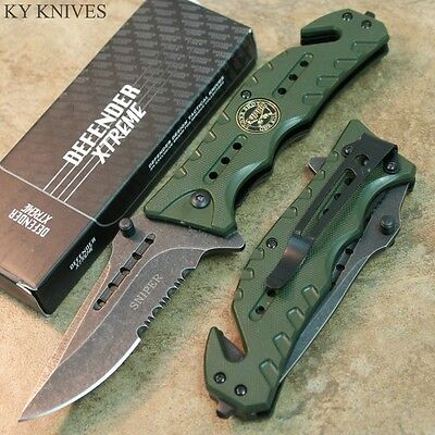 "8"" Sniper STONE WASHED BLADE Assisted Open Rescue Pocket Knife GREEN 7348 zix"
