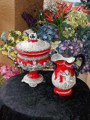 italy porcelain lidded URN compote & PITCHER vase CHERUB raised relief decor