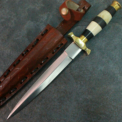 "12.5"" Commando Dagger Hunting Knife with Genuine Leather Sheath 203166 zix"