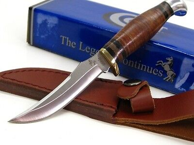 COLT Stacked Leather Small HUNTER Fixed Blade Hunting Knife + Sheath! CT296