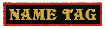 """4"""" x 1"""" Custom Embroidered Name Tag Patch Motorcycle Biker"""