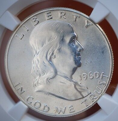 1960 US Franklin Half Dollar  90% Silver Coin NGC MS64
