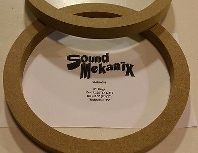 "Spacer Rings 6 1//2/"" MEDIUM Size 1//2/"" Thick One Pair Made In USA MDF Speaker"