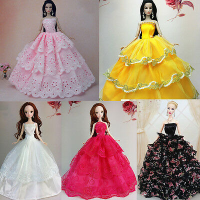 Handmade Wedding Gown Dresses Outfit Party For Barbie Doll Gorgeous Gifts