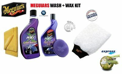 Meguiars Nxt Gen Wash & Wax Kit Car Wash Tech Wax  Microfiber Pad Towel & Mitt