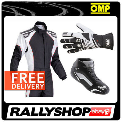 OMP KART SET KS-3 COMPLETE SUIT SHOES GLOVES BLACK M L XL Sport Karting Wear Kit
