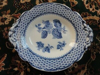 Ruskin Cauldon England BWM & Co Oval Footed Bowl Flow Blue Antique RARE Vintage