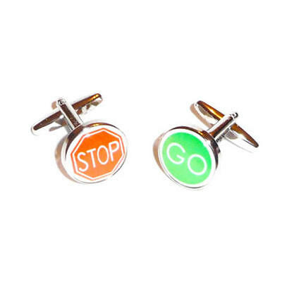 Red Stop & Green Go Road Sign Cufflinks With Gift Pouch Traffic Control New