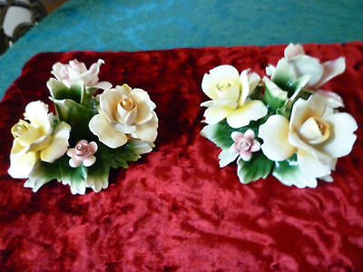 Vtg Signed. 2 Nuova Capodimonte Handmde 6 Roses  Candle Holders Made In Italy