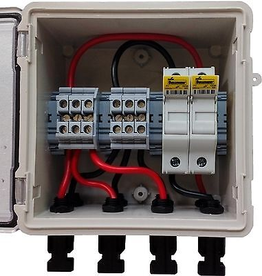 PV Solar 3-String DC Combiner Box with 2 fuses - Pre-wired