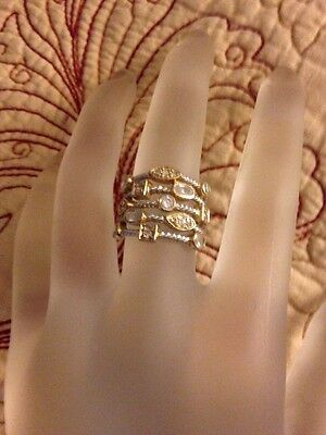 Vintage Sterling SIlver, Cubic Zirconia  Stone Ring Size 8