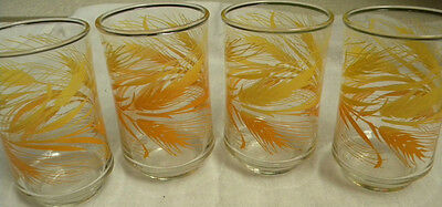 4 Vintage Libbey juice glasses with golden wheat pattern