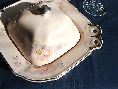 Taylor Smith TST sq.china BUTTER DISH pink body Platinum OPEN ROSE gray leaves