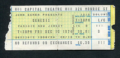 Original 1974 Genesis concert ticket stub Capital Theatre NJ Rare Peter Gabriel