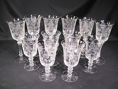 Heisey Orchid Etched Stemmed Goblets Lot of 12