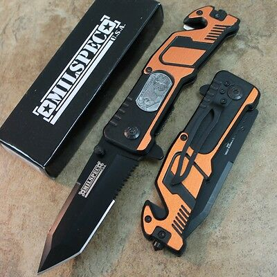 "8"" Orange EMS Tactical Assisted Open Rescue Pocket Knife YC-S-8347-OR zix"
