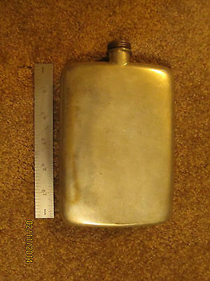 12 OZ Great Rex Pewter Flask, Made in England, 6.5 Inches High, 4.5 Inches Wide