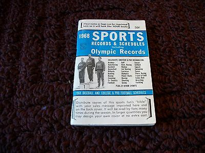 "1968 vintage ""Sports Records & Schedules including Olympic Records"" booklet"