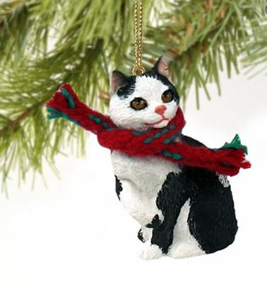 MANX (black & white) TABBY CAT CHRISTMAS ORNAMENT HOLIDAY Figurine kitten gift