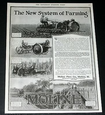 1919 Old Magazine Print Ad, Moline Universal Tractor, The New System Of Farming!