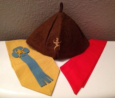 ☆Vintage 1950's☆ Girl Scouts Brownies Wool Cap Hat & Sash With Ribbon Rare