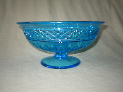 Vintage Blue Pattern Glass Footed  9  Inch Bowl   Diamonds &  Rays  Decoration