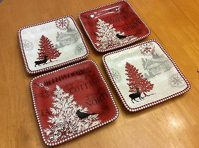 222 Fifth Square Salad Plates. Northwood Cottage. Set Of 4. Red, White. New.
