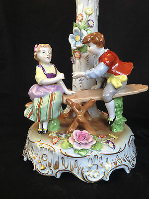 Antique GERMAN DRESDEN porcelain. Children playing. With marks
