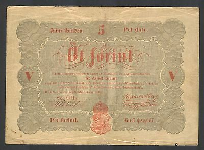 HUNGARY - 5 Forint Gulden Zlaty Forinti Florini 1848 Banknote Note P S116a (F+)