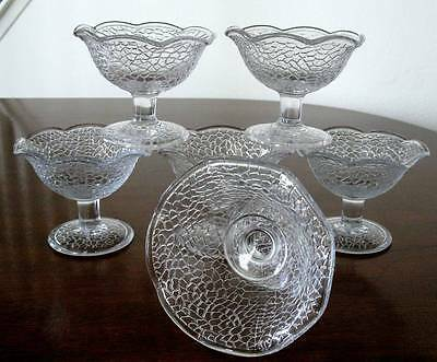 6 Antique EAPG Footed Crackle Pattern Berry or Sauce Dishes