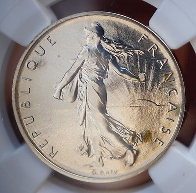 1979 France 1 Franc Proof Silver Piedfort  NGC PF65 Only 600 Minted w/COA