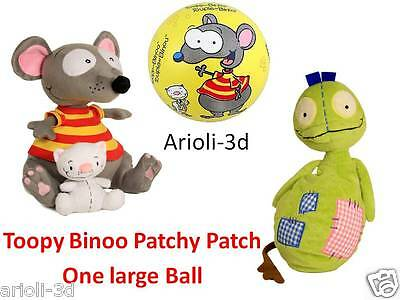 """LOT NEW TOOPY 10"""" AND BINOO 4"""" + PATCHY PATCH 12"""" + BALL  - PLUSH DOLL STUFFED"""