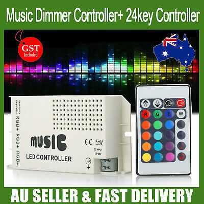 24 Key Music RGB LED Strips Controller Dimmer Sound Wireless IR Remote Control