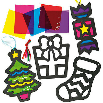 Christmas Stained Glass Effect Decorations for Children to Create (Pack of 6)