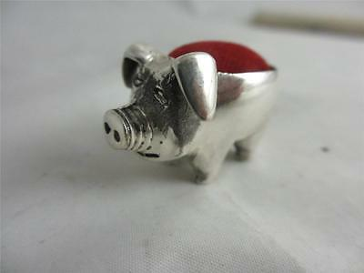 ANTIQUE VICTORIAN STYLE STERLING SILVER LITTLE PIG PIN CUSHION