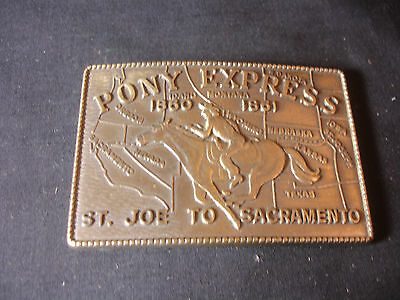 Old Vtg Collectible Gold Tone Belt Buckle with Pony Express 1860- 1861