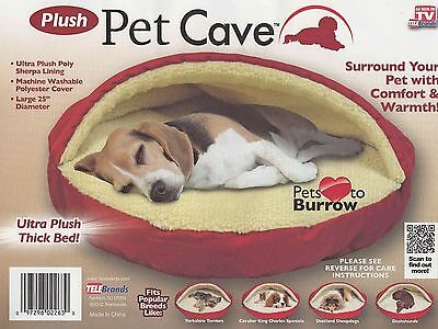 """Ultra Plush Pet Cave 25"""" Round Dog Puppy Cat Bed Poly Sherpa Lining Washable NEW"""