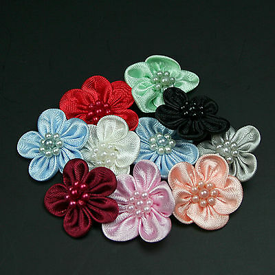 """1"""" Hand Sewn Satin Pearl Beaded Flower Red Blue Green Black Peach Pink"""