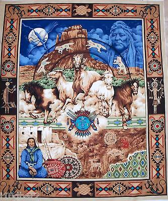 SOUTHWEST NATIVE LEGACY INDIAN HORSE FABRIC quilt top fabric panel STUNNING!
