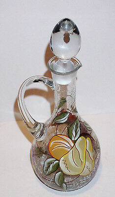 """Large 14"""" High Hand Painted Clear Crackle Glass Pitcher"""