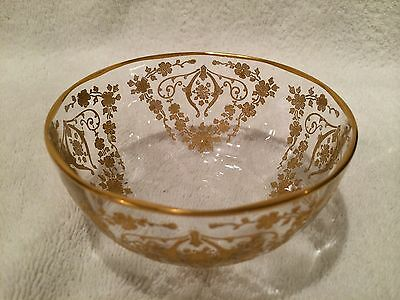 Cambridge Glass Company Diane etch Gold encrusted finger bowl