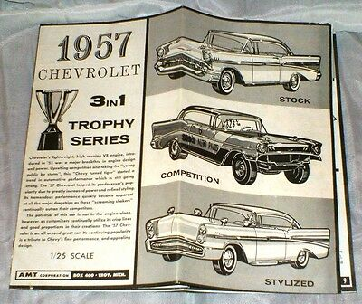 1957 CHEVROLET 1/25 SCALE 3 IN 1 TROPHY SERIES MODEL INSTRUCTIONS VINTAGE 1962
