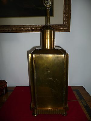 VTG Heavy Footed  BRASS TABLE LAMP w ENGRAVED ART-Frederick COOPER?Very ORIGINAL