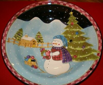 """Laurie Gates Los Angeles Pottery Holiday Snowman 14 1/4""""Large Serving Bowl Xmas"""