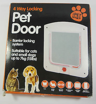 New Cat Pet Dog Door Flap 4 way locking lockable small white coffee wall mount