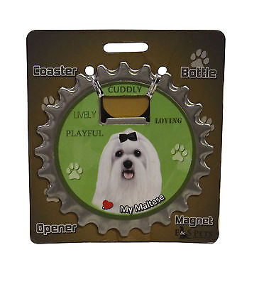 Maltese dog coaster magnet bottle opener Bottle Ninjas magnetic
