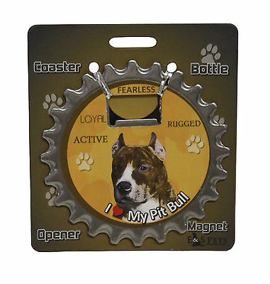 Pit Bull Terrier dog coaster magnet bottle opener Bottle Ninjas magnetic brindle