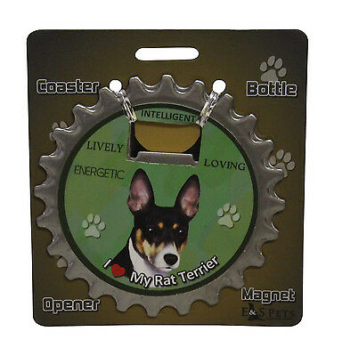 Rat Terrier dog coaster magnet bottle opener Bottle Ninjas magnetic