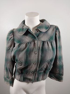 Decree Womens Taupe & Teal Soft Cotton Cropped Jacket Super Cute Size L